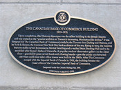 Canadian Bank of Commerce Building Heritage Property Plaque, 2006