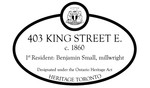 403 King Street E Heritage Property Plaque, 2012