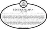 Ben Dunkelman Commemorative Plaque, 2017