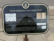"Spadina Expressway Commemorative Plaque ""Stop Spadina: Save Our City"", 2010."