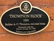 Thompson Block Heritage Property Plaque, 2020.