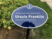 Ursula Franklin Legacy Plaque, 2019.
