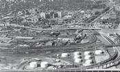 West Don Lands, Regent Park, and Cabbagetown from the mouth of the Don River, 1964. City of Toronto Archives.