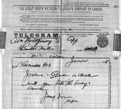 Telegram reporting Joshua Glover's death, June 4, 1888. Archives of Ontario.