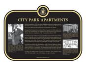 City Park Apartments Commemorative plaque, 2021.