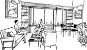 Promotional illustration of a new City Park apartment, 1955.