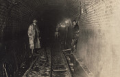 Workers inside a waterworks tunnel, Toronto, circa 1890.