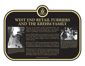 West End Retail Furriers and the Krehm Family Commemorative plaque, 2021.