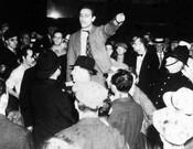 Activist William Krehm leading an anti-fascist rally outside Massey Hall, 1938.