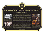 Underground Railroad Restaurant, Bloor Street, Commemorative plaque, 2021.