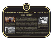 Underground Railroad Restaurant, King Street, Commemorative plaque, 2021.
