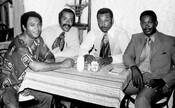 Howard Matthews, Archie Alleyne, Dave Mann, and John Henry Jackson, owners of the Underground Railroad restaurant, 1970.