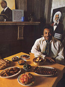 Dave Mann, Toronto Argonauts player turned restauranteur, with dishes from the Underground Railroad, 1970.