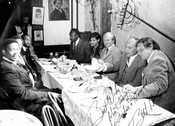 Ontario Premier Bill Davis and cabinet members on opening night of the King Street location of the Underground Railroad Restaurant, 1973.